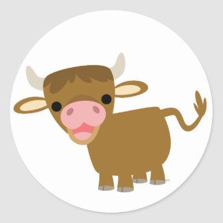 Cute Cartoon Ox sticker sticker
