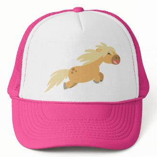Cute Cartoon Palomino Pony Trucker Hat hat