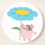 Cute Cartoon Pig With Gift (Blue) Coaster