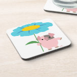 Cute Cartoon Pig With Gift (Blue) Coasters Set