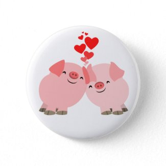Cute Cartoon Pigs in Love Button Badge button