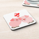 Cute Cartoon Pigs in Love Coasters Set