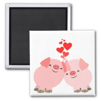 Cute Cartoon Pigs in Love Magnet magnet