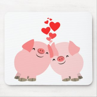Cute Cartoon Pigs in Love Mousepad mousepad