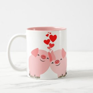 Cute Cartoon Pigs in Love Mug mug