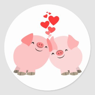 Cute Cartoon Pigs in Love Sticker sticker