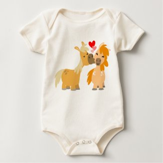 Cute Cartoon Ponies in Love Baby apparel shirt
