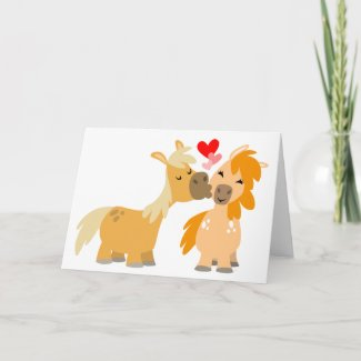 Cute Cartoon Ponies in Love greeting card card