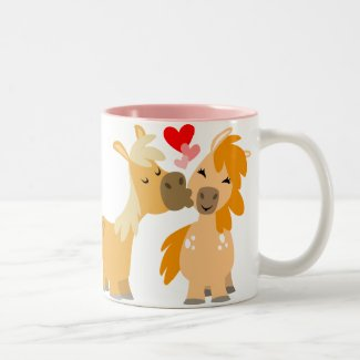 Cute Cartoon Ponies in Love mug mug