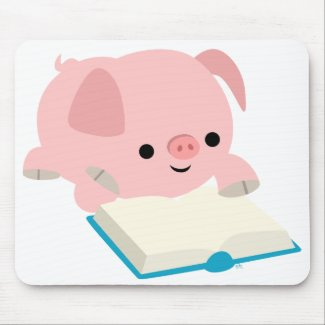 Cute Cartoon Reading Piglet Mousepad mousepad