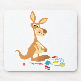Cute Cartoon Rummaging Kangaroo Mousepad mousepad