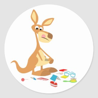 Cute Cartoon Rummaging Kangaroo Sticker sticker