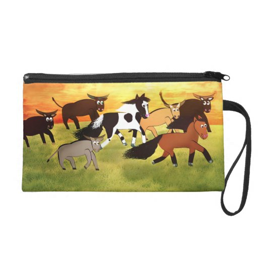 Cute Cartoon running western horses Wristlet Purse