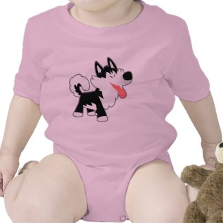 Cute Cartoon Siberian Husky Baby Clothing shirt