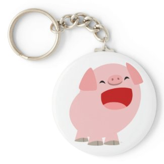 Cute Cartoon Singing Pig Keychain keychain