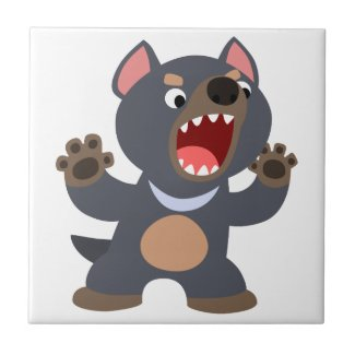 Cute Cartoon Tasmanian Devil Tile