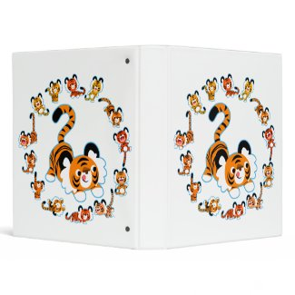 Cute Cartoon Tigers Mandala (Blue) Avery Binder binder