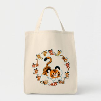 Cute Cartoon Tigers Mandala (Blue) Grocery Bag bag