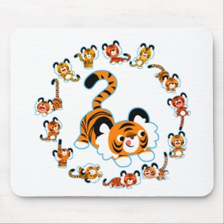 Cute Cartoon Tigers Mandala (Blue) Mousepad mousepad