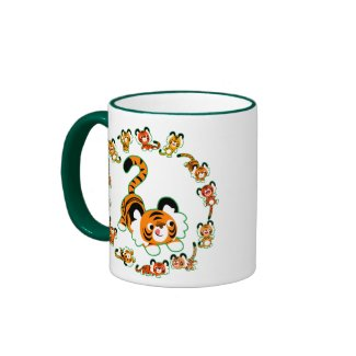 Cute Cartoon Tigers Mandala (green) Mug mug