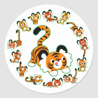 Cute Cartoon Tigers Mandala (green) Sticker sticker