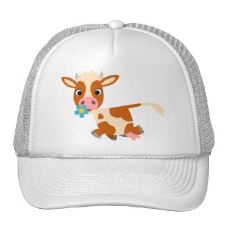 Cute Cartoon Trotting Cow Hat hat