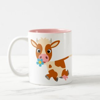 Cute Cartoon Trotting Cow Mug mug