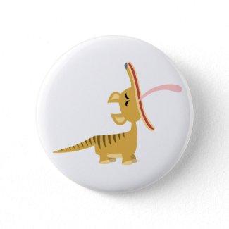 Cute Cartoon Yawning Thylacine Button Badge button