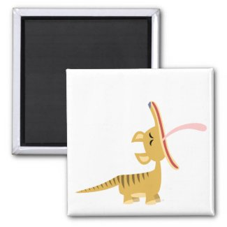 Cute Cartoon Yawning Thylacine Magnet magnet