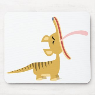 Cute Cartoon Yawning Thylacine Mousepad mousepad