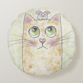 Cute Cat and Mouse Illustration Round Pillow