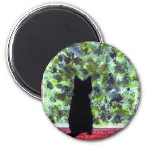 Cute Cat Art Black Cat at the Window Painting Magnet