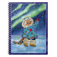 Cute cat, northern lights, winter Notebook