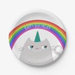 ❤️ Unicorn Cat & Rainbow Birthday Party Paper Plate