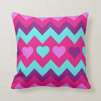 Cute Chevron Hearts Pink Teal Teen Girl Pillow
