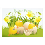 ❤️ Cute Chicks, Eggs & Daffodils Easter Party Invitation