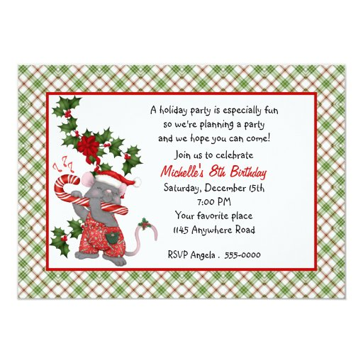 Cute Christmas Mouse Birthday Invitation Zazzle