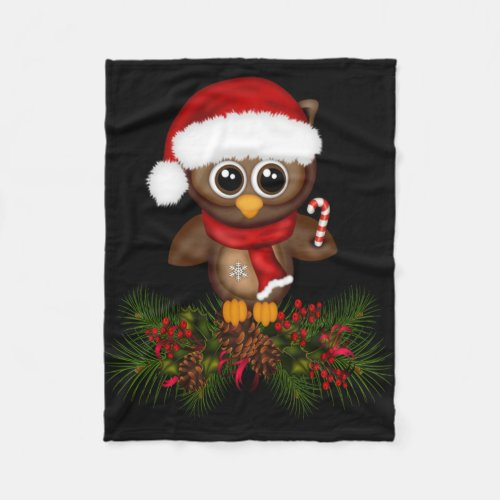 Cute Christmas Owl On Pine Branch Fleece Blanket