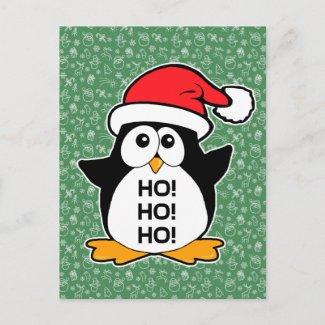 Cute Christmas Penguin Ho Ho Ho Holiday Postcard