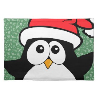 Cute Christmas Penguin Ho Ho Ho Place Mats