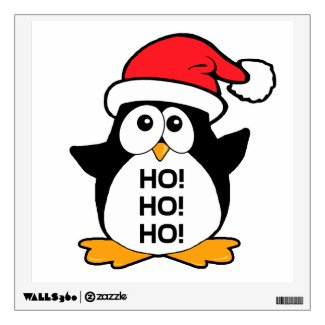 Cute Christmas Penguin Ho Ho Ho Wall Decor