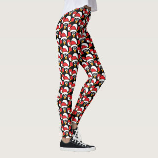 Cute Christmas Penguins Red Leggings