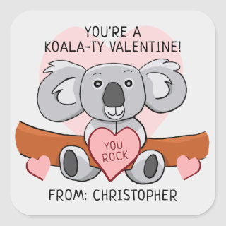 Cute Classroom Valentine Koala Square Sticker