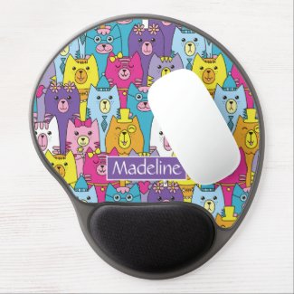 Cute Colorful Cartoon Cats Pattern Add Name Gel Mouse Pad