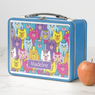 Cute Colorful Cartoon Cats Pattern Personalized Metal Lunch Box