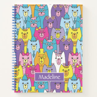 Cute Colorful Cartoon Cats Pattern Personalized Notebook