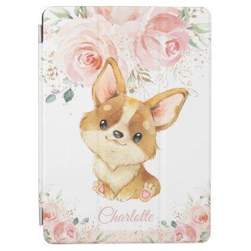 Cute Corgi Puppy Dog Blush Pink Floral iPad Air Cover
