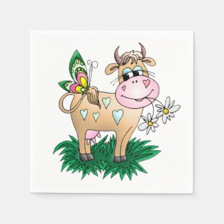 Cute Cow & Butterfly Napkins