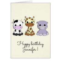 Cute cow giraffe hippo cartoon kids birthday card