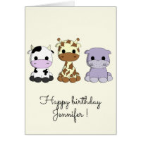 Cute cow giraffe hippo cartoon kids birthday card